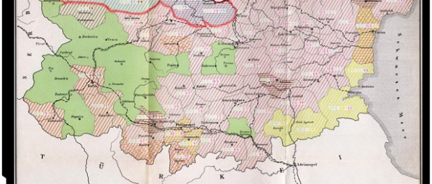 Ethnic map of Bulgaria according to the census results from 1892 (Blue denotes regions with a Romanian minority)