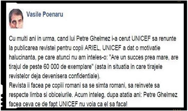 """Vasile Poenaru: """"UNICEF i-a cerut lui Petre Ghelmez sa renunte la publicarea revistei pentru copii ARIEL pentru ca revista ii facea pe copiii romani sa se simta romani"""""""