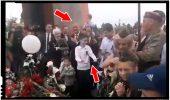 Un porumbel emoționat s-a ... descărcat pe Dodon în timpul manifestărilor de pe 9 mai