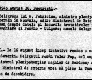 16 August 1940: momentul care conduce către Dictatul de la Viena din 30 august 1940