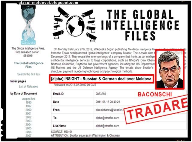 jurnalistul George Roncea il acuza pe Baconschi de tradarea Basarabiei pe baza documentelor Stratfor dezvaluite de Anonymous si Wikileaks.