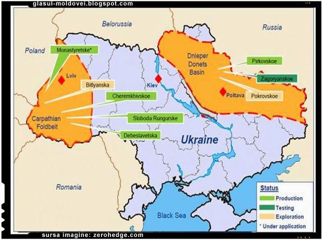 Harta Ucraina, Lupta pentru gazele de sist din Ucraina