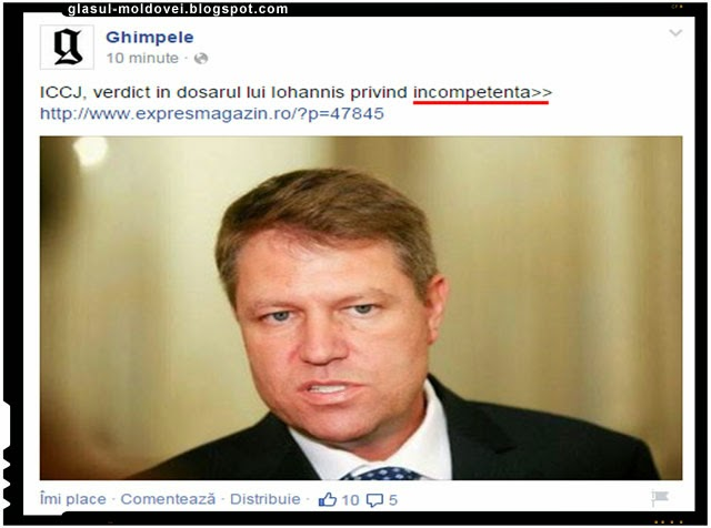 Ghimpele - ICCJ, verdict in dosarul lui Iohannis privind incompetenta