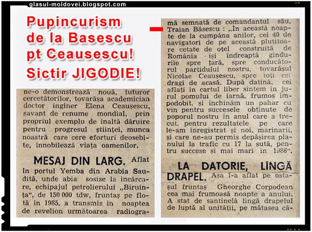Jigodia comunista Traian Basescu cu buzele lipite de curul lui Nicolae Ceausescu!