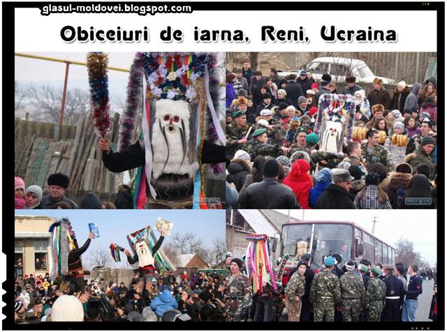 Obiceiuri de iarna - Satenii din Reni au blocat autostrada Odesa-Reni