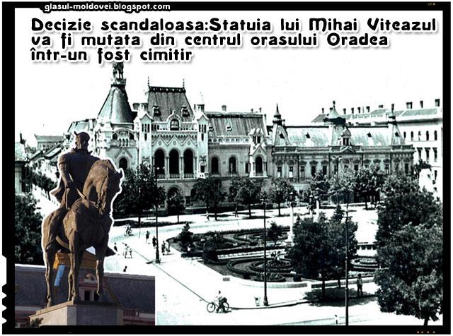 Statuia ecvestra a lui Mihai Viteazul din centrul orasului Oradea