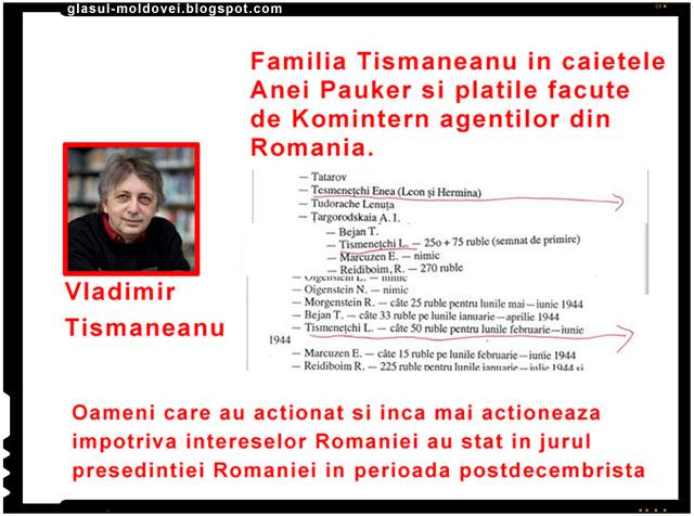 Familia Tismaneanu figura pe statul de plata al Anei Pauker pentru actiuni intreprinse impotriva Romaniei si a romanilor