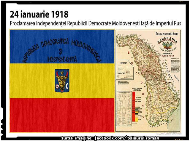 La 24 ianuarie 1918 Republica Democrata Moldoveneasca isi proclama independenta fata de Imperiul Rus, sursa imagine: facebook.com/balaurul.roman