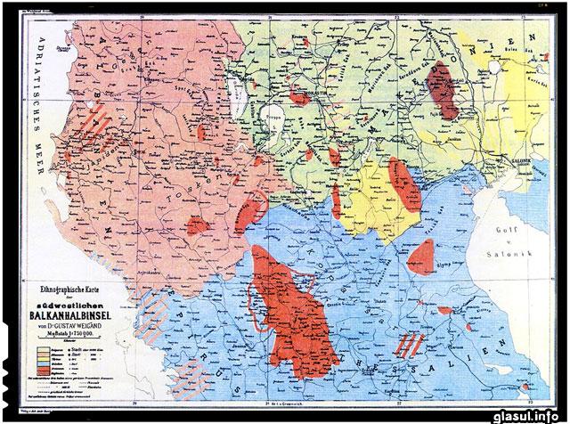 Răspândirea aromânilor (în roșu viu) și a megleno-românilor (în roșu vișiniu) anul 1890
