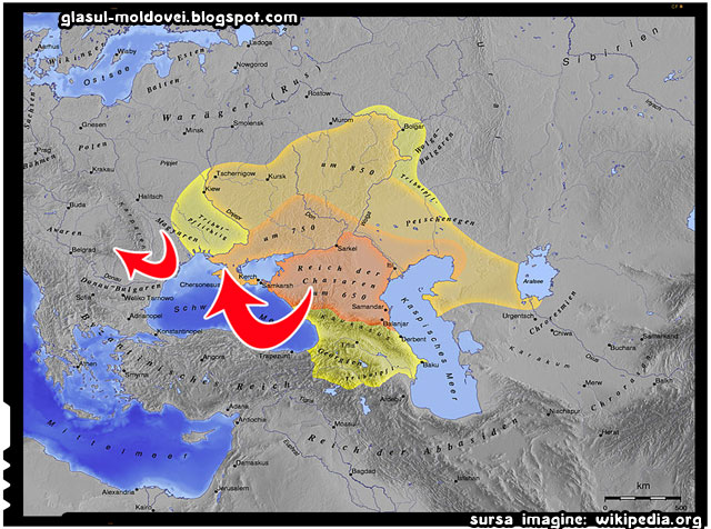 Legătura dintre triburile de Khazari și Maghiari, sursa imagine: wikipedia.org