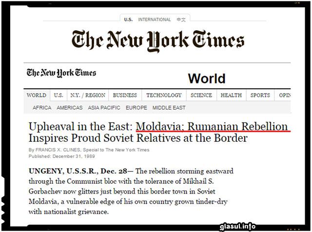 """New York Times, 31 Decembrie 1989: """"Revoluţia Română Îi Inspiră Pe Moldovenii Sovietici"""""""