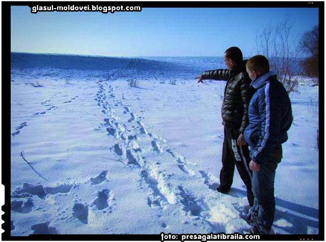 Doi moldoveni au trecut ilegal frontiera pe podul de gheaţă al râului Prut, foto: presagalatibraila.com