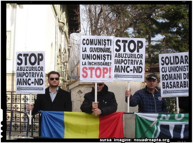 Filiala Noua Dreaptă Bucureşti a organizat luni 19 ianuarie pichetarea Ambasadei Republicii Moldova, sursa imagine: nouadreapta.org