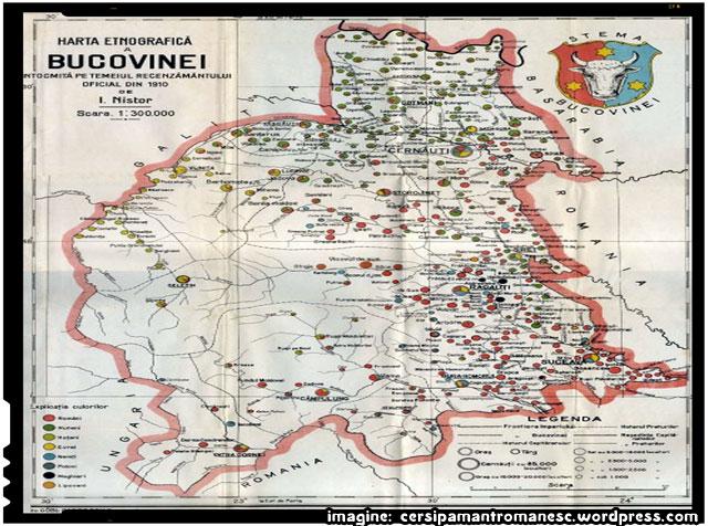 Regiunea istorică Bucovina, imagine - cersipamantromanesc.wordpress.com, Bucovina (Harta etnografica 1910)