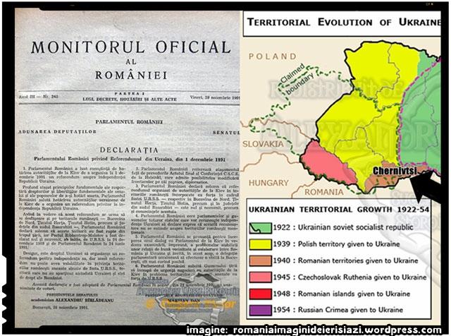 Declarația din 28 noiembrie 1991 a Parlamentului României privind Referendumul din Ucraina, din 1 decembrie 1991, sursa imagine: romaniaimaginideierisiazi.wordpress.com