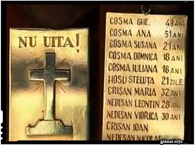 Plăcuța (pandantiv), pe care au fost consemnați morții din familia Cosma, purtată la gat de un supravietuitor (copil pe atunci) din localitatea Ip.