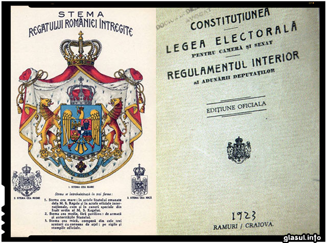 Pe 26 martie 1923 Parlamentul a votat Constitutia Romaniei Mari
