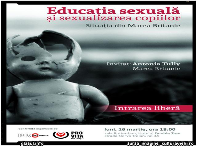 """INVITAȚIE: Conferinta """"Educatia sexuala si sexualizarea copiilor. Situatia din Marea Britanie"""", sursa imagine: culturavietii.ro"""