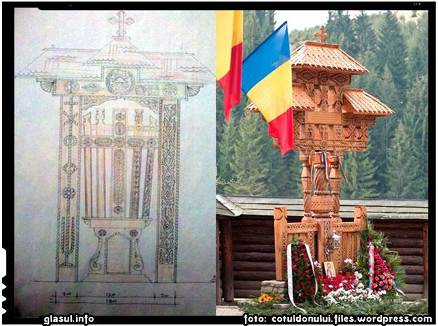 INITIATIVA GENERAL RADU THEODORU: MONUMENTUL EROILOR DE LA COTUL DONULUI – TROITA DE LEMN LA MANASTIREA COMANA, foto: cotuldonului.wordpress.com