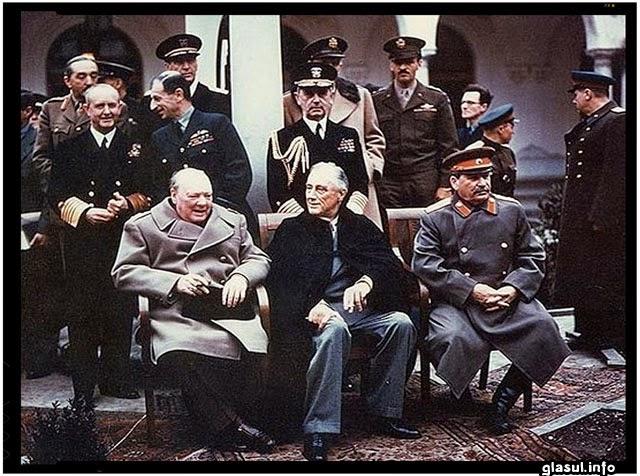 Între 4 și 11 februarie 1945 a avut loc Conferința de la Ialta: împărțirea României între hiene din Est și din Vest