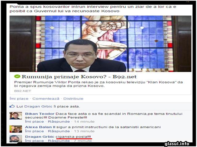 "Sarbii despre intentia lui Ponta de a recunoaste Kosovo: "" Afacere tiganeasca!"", foto: captura Facebook, b92.net"