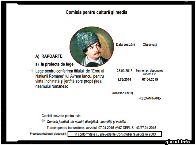 """In sfarsit! Avram Iancu, """"Erou al Naţiunii Române"""", pentru viaţa închinată şi jertfită spre propăşirea neamului românesc, foto: captura senat.ro"""