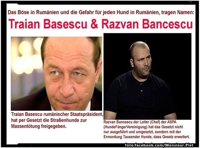"""Iubitorii de animale din Germania despre Basescu: """" Arata ca un psihopat, asta poate fi numit om?"""", foto: facebook.com/Monsieur.Piet"""