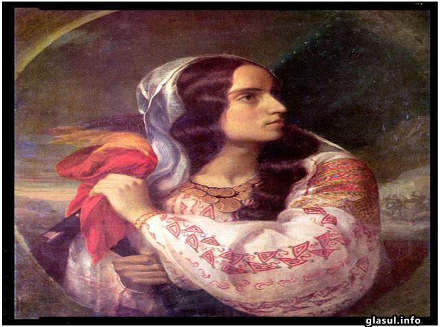 România revoluţionară, pictură de Constantin Daniel Rosenthal (modelul este Maria Rosetti)
