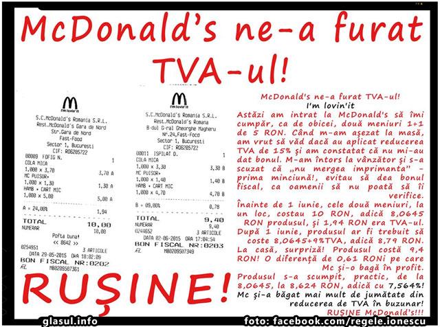 McDonald's ne-a furat TVA-ul!, foto: facebook.com/regele.ionescu