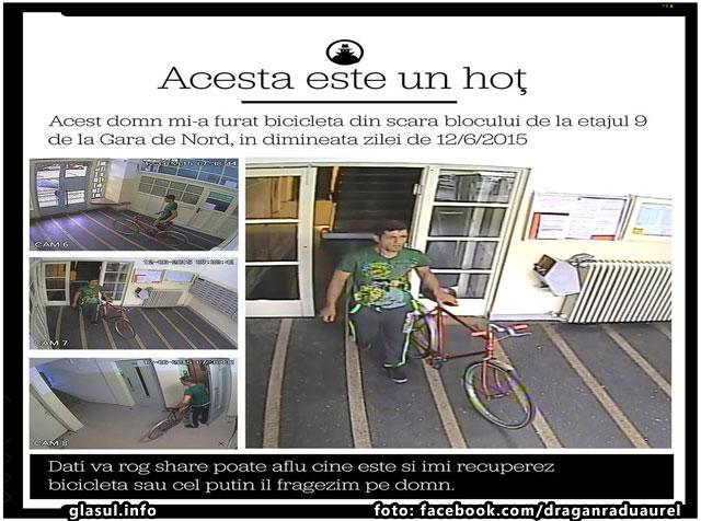Un hot de biciclete a devenit vedeta pe internet! Distribuiti poate il facem vedeta si pentru politie, foto: facebook.com/draganraduaurel