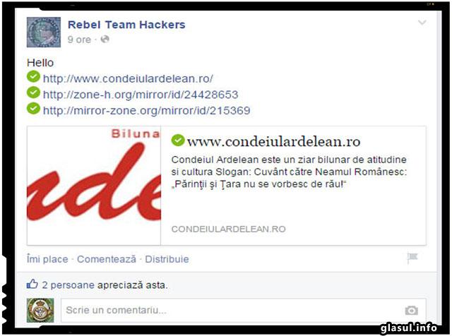 """Indiciile lasate pe pagina site-ului romanesc duc inspre """"Rebel Team Hackers"""", iar pe pagina de Facebook a acestora am gasit intr-adevar revendicarea atacului impotriva site-ului condeiulardelean.ro."""