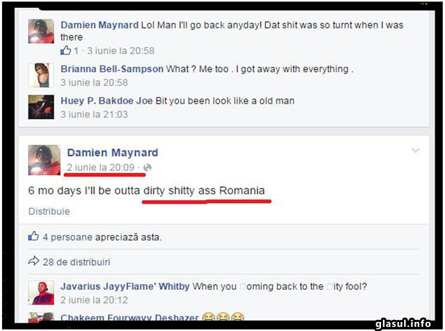 """Insa o alta afirmatie a soldatului american Damien Maynard este de-a dreptul socanta si dovedeste mizeria care se ascunde de fapt in mintea sa: """"Inca 6 zile si apoi parasesc acest fund murdar si cacacios Romania!"""""""