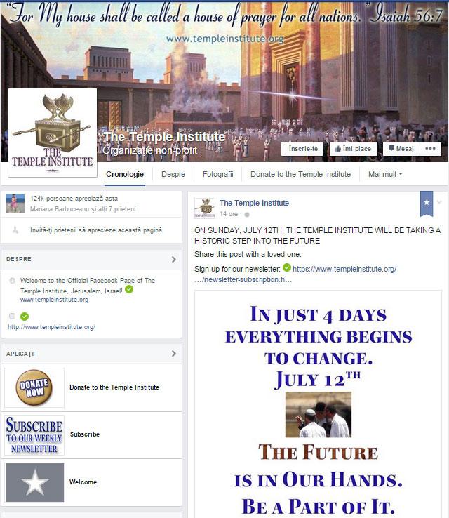 Ca si cum acest lucru nu ar fi fost suficient, Institutul Templului tocmai postat pe pagina  sade Facebook oficiala ca au o veste importanta despre o profetie importanta care se va implini in doar cateva zile (pe 12 iulie 2015):
