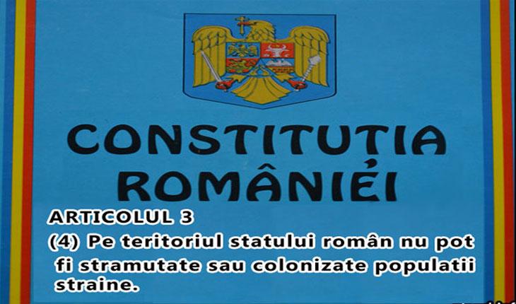 Opriti-va imbecililor! Constitutia Romaniei interzice stramutarea sau colonizarea unor populatii straine pe teritoriul Romaniei!