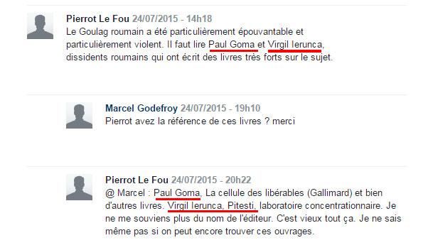 printre comentariile postate la articolul din Le Monde ce facea referire la condamnarea lui Visinescu am fost placut surprinsi sa constatam ca operele lui Paul Goma si Virgil Ierunca sunt cunoscute in Franta.