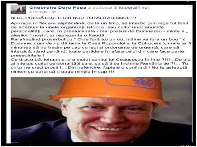 "Comentariul unui roman suparat: ""NI SE PREGĂTEȘTE DIN NOU TOTALITARISMUL?!"", foto: captura comenatriu Gheorghe Doru Popa"