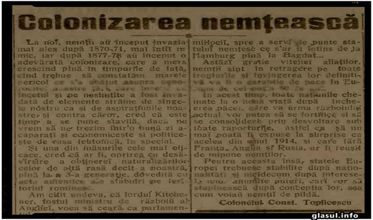 """Cum era vazuta """"colonizarea nemteasca"""" la inceputul secolului XX"""