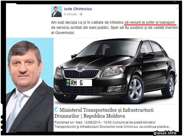 Ministrul Transporturilor din Republica Moldova a renuntat la sofer si transport de serviciu achitat din bani publici