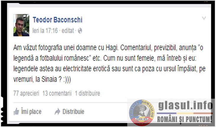 """Inca o dovada de antiromanism a lui Teodor Baconschi : """"Hagi are electricitate erotica sau este un urs impaiat?"""""""