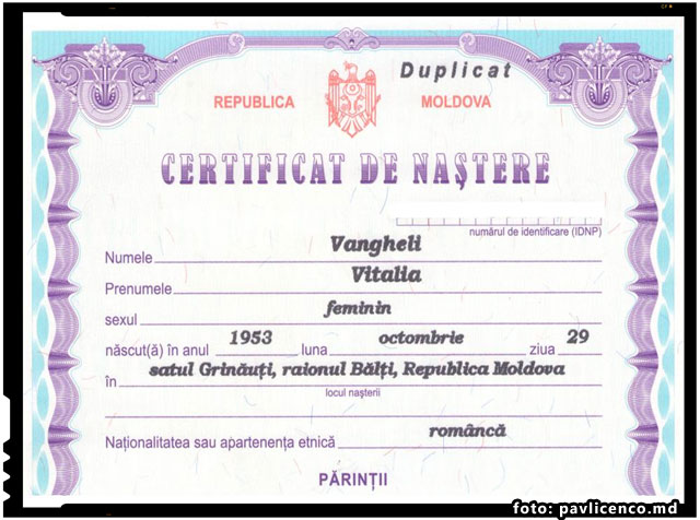 "Vitalia Vangheli-Pavlicenco: ""Suntem prima familie in RM, care si-a restabilit identitatea romaneasca in actele oficiale moldovenesti"", foto: pavlicenco.md"