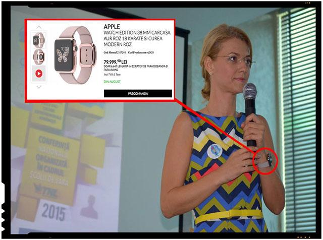 O alta acuzatie pe care internautii o fac la adresa Alinei Gorghiu: cum de isi permite ceas de 18.000 de Euro?, foto: facebook