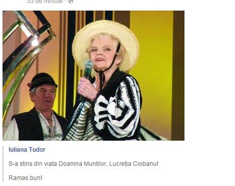 """Tragica veste a fost anuntata printr-o postare pe Facebook de catre Iuliana Tudor, gazda emisiunii de la TVR,  """"O dată-n viaţă"""", emisiune in care obisnuia sa invite multi dintre interpretii de muzica populara romaneasca..."""