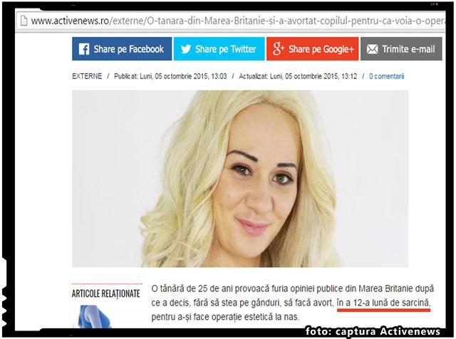 "Gafa Activenews: ""O tanara a decis sa faca avort in a 12-a luna de sarcina, pentru a-si face operatie estetica la nas"", foto: captura Activenews"