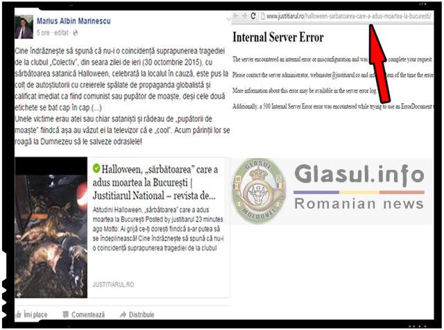 Cenzura presei romanesti continua! Revista Justitiarul atacata pentru un articol legat de Halloween, foto: Captura Facebook