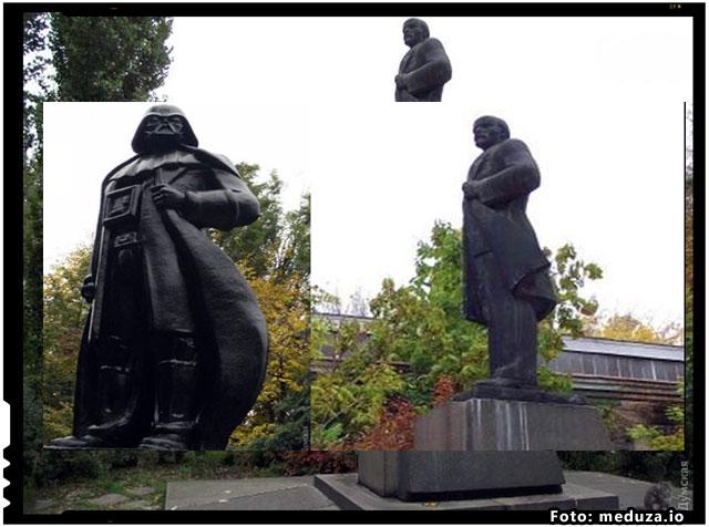 Ucrainenii au transformat o statuie a lui Lenin in Darth Vader!, foto: meduza.io