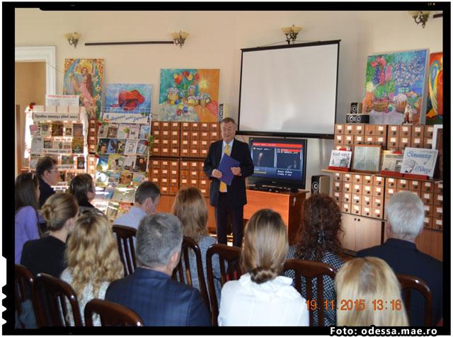 Mihai Eminescu omagiat la Odesa prin lansarea cartii publicistului Vadim Bacinschi, foto: odessa.mae.ro