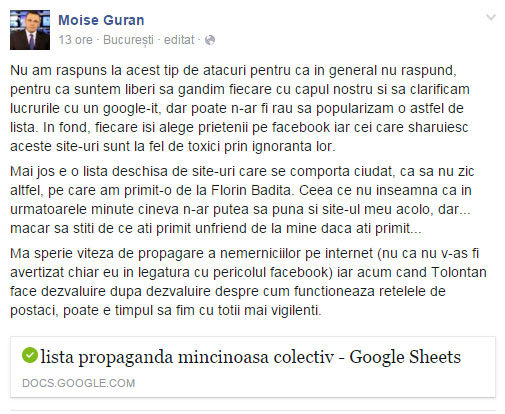 """La randul sau, Moise Guran a promovat si el aceasta lista cu site-uri """"dubioase""""."""