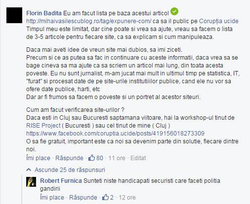 """""""Inspirat"""" de articolul acestui blogger, Florin Badita, cunoscut pentru faptul ca a organizat in Romania un eveniment pentru nonconformisti, """"Ziua fara pantaloni la metrou"""", a promovat si largit aceasta lista, adaugand insa si datele personale ale unor persoane care au legatura cu acele site-uri, inclusiv Codul Numeric Personal sau adresele de domiciliu."""