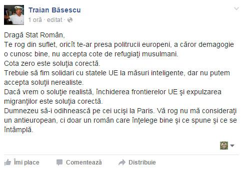 Traian Basescu, apel impotriva cotelor obligatorii de imigranti