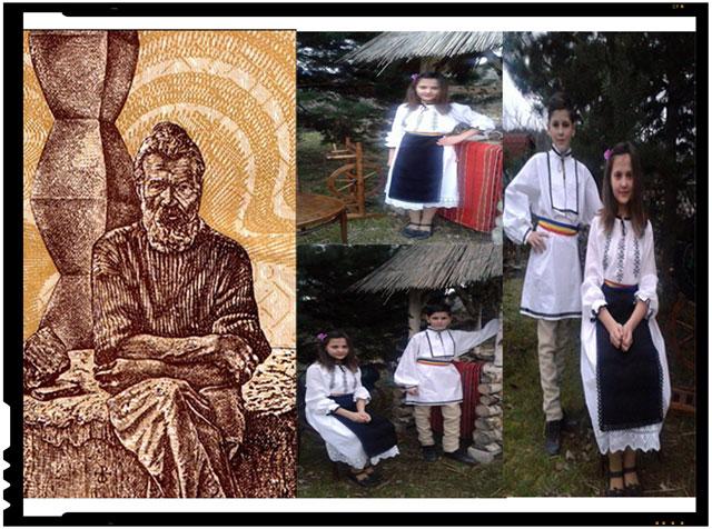 Coloana infinitului, un stâlp de suflete pentru sprijin, cum spunea Brâncuşi, pe ia din costumele populare pe care le vor purta copiii români din Mărtănuş si Ojdula (jud. Covasna)